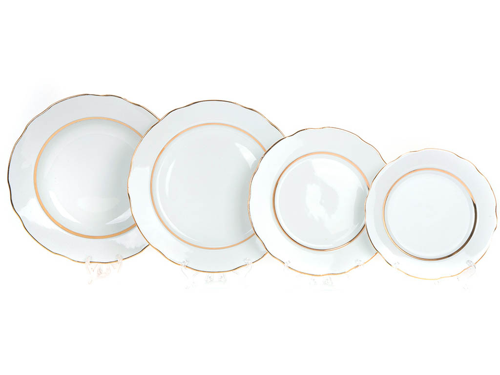 Фото Набор тарелок Вырезной край Монреаль, 24 предмета на 6 персон, с глубокими тарелками