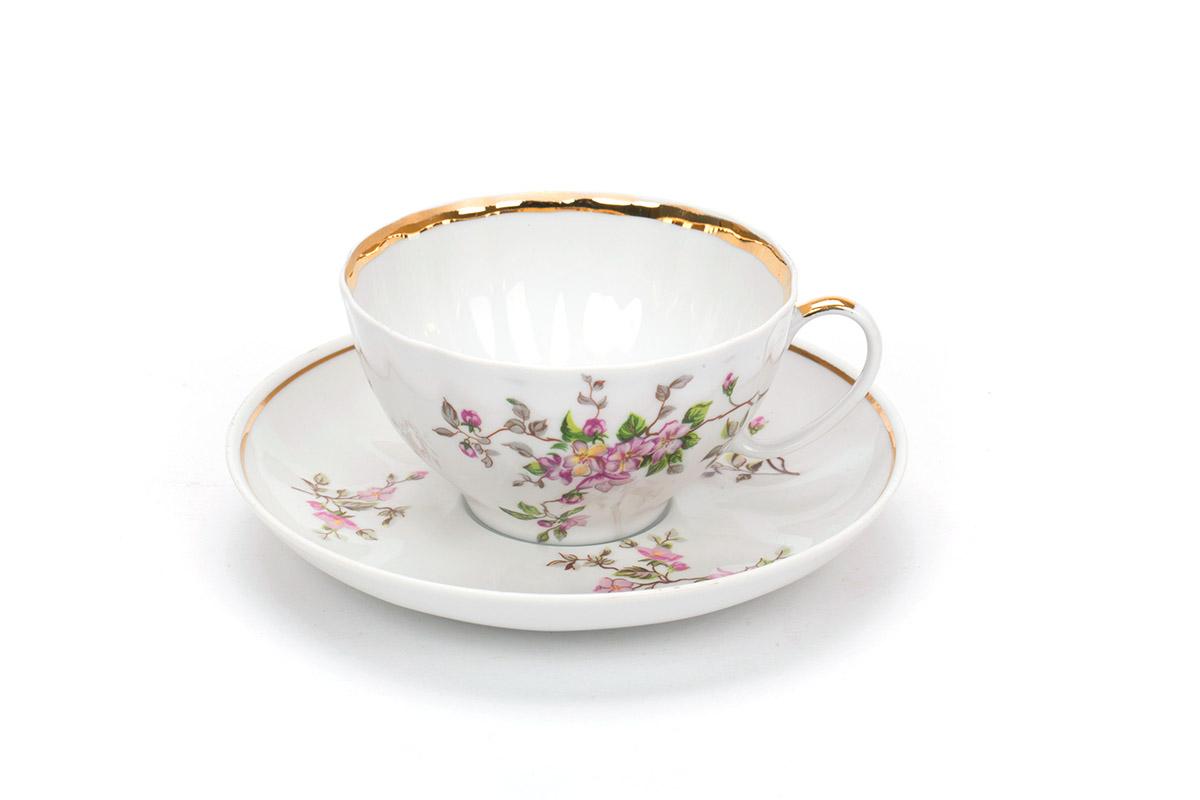 Фото Чашка чайная с блюдцем 230 мл Белый лебедь Цветение 2с