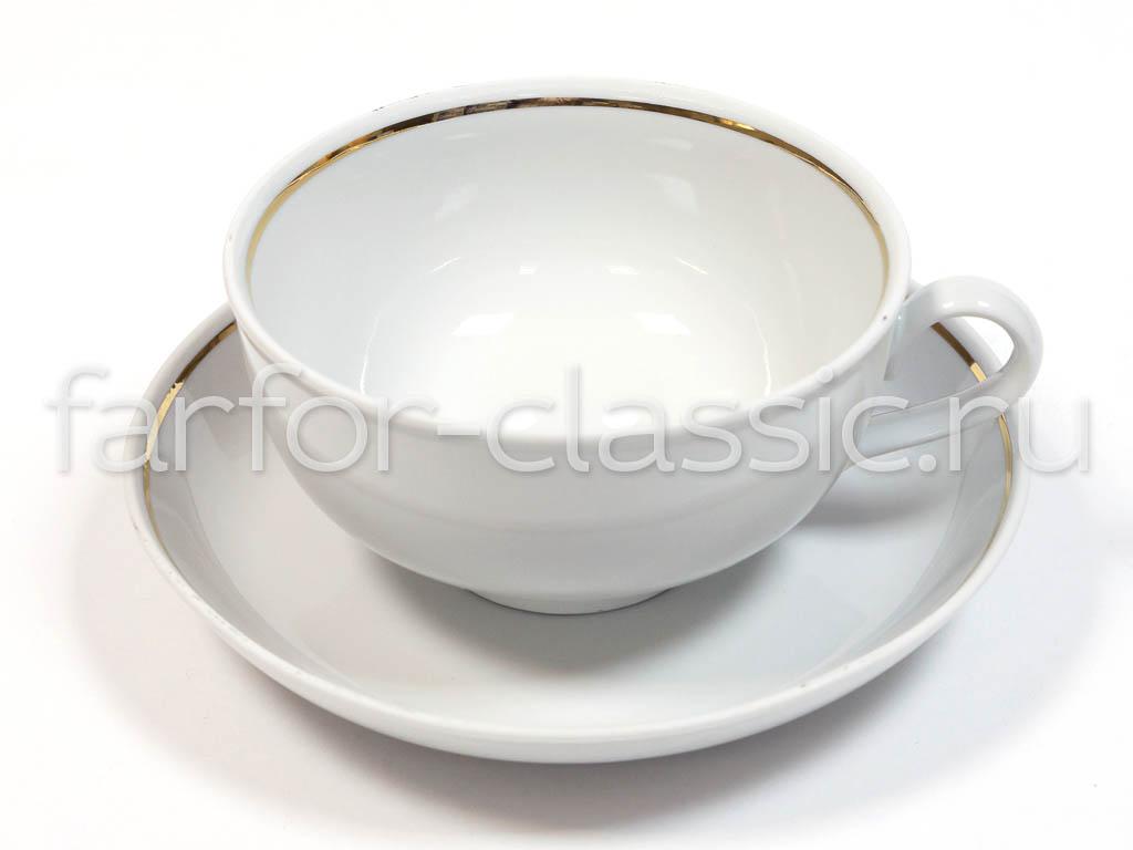 Фото Чашка с блюдцем 400 мл Отводка золотом 2с