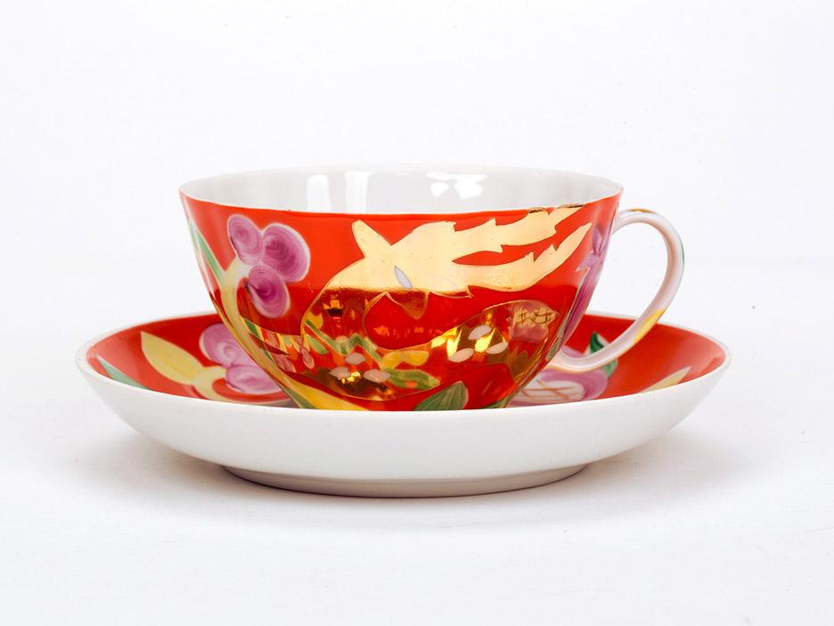 Фото Чашка чайная с блюдцем 230 мл Белый лебедь Золотой олень