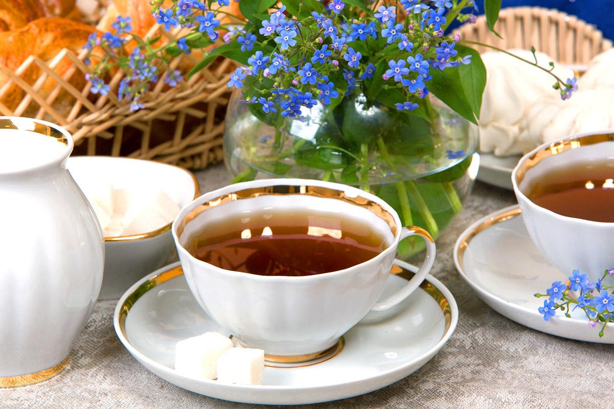 Фото Сервиз чайный Дулево Белый лебедь Московский с лентой, 15 предметов