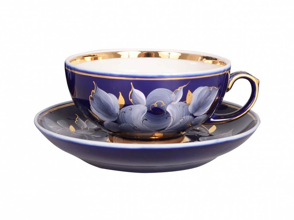 Фото Чашка чайная с блюдцем Гжель 220 мл Рубин Глухой кобальт