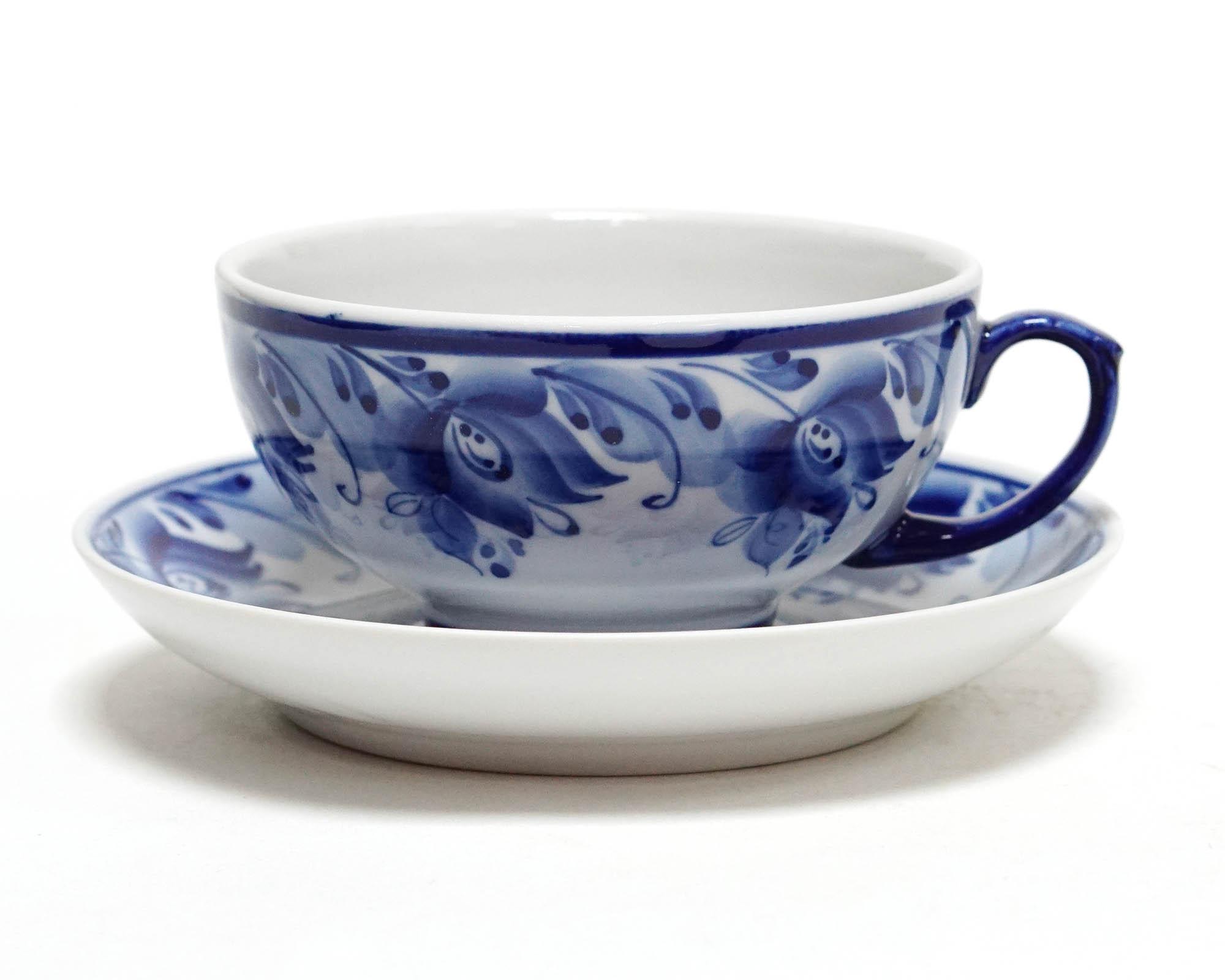 Фото Чашка чайная с блюдцем Гжель 220 мл Рубин Голубые тюльпаны