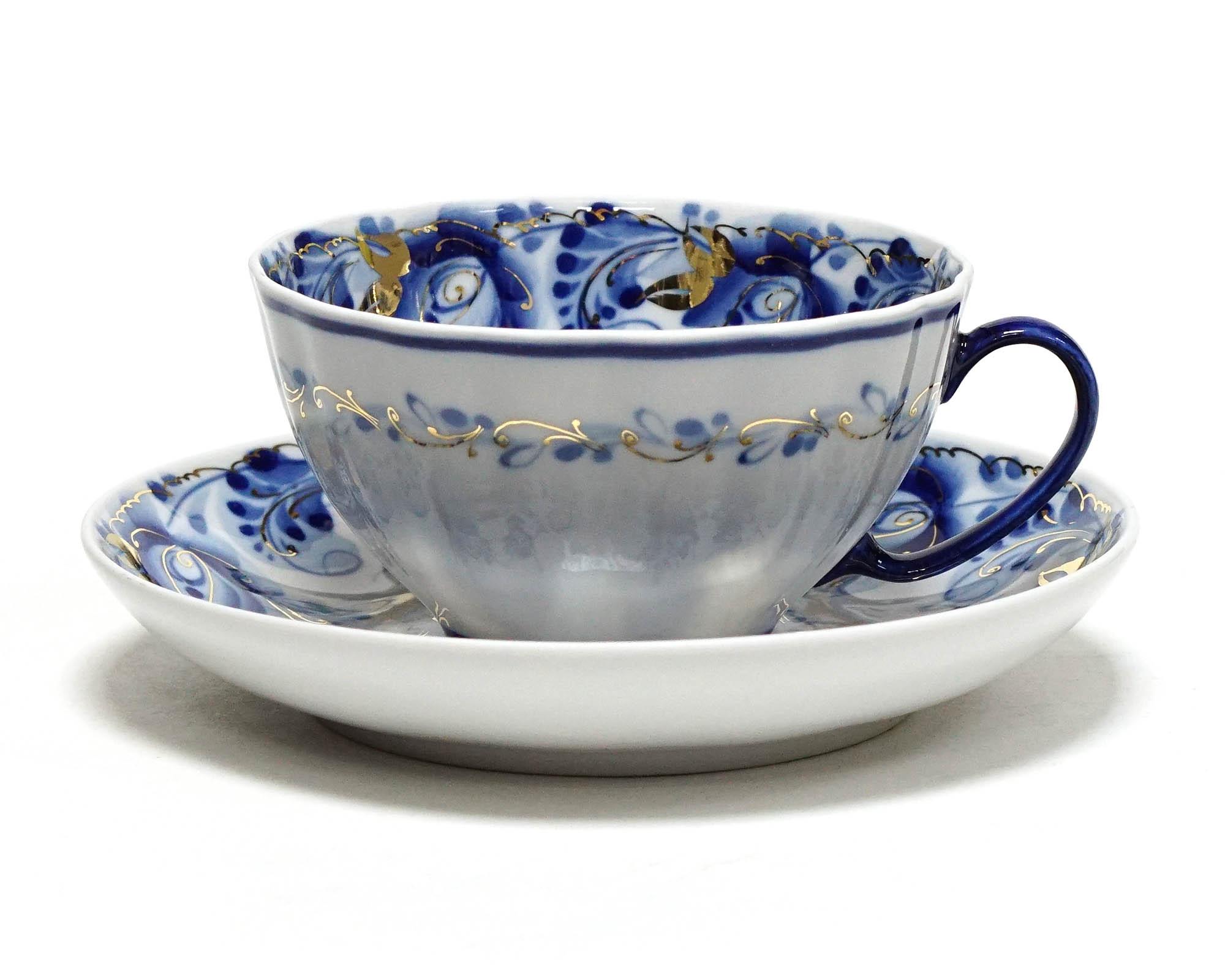 Фото Чашка чайная с блюдцем Гжель 230 мл Белый лебедь Голубые тюльпаны Золото