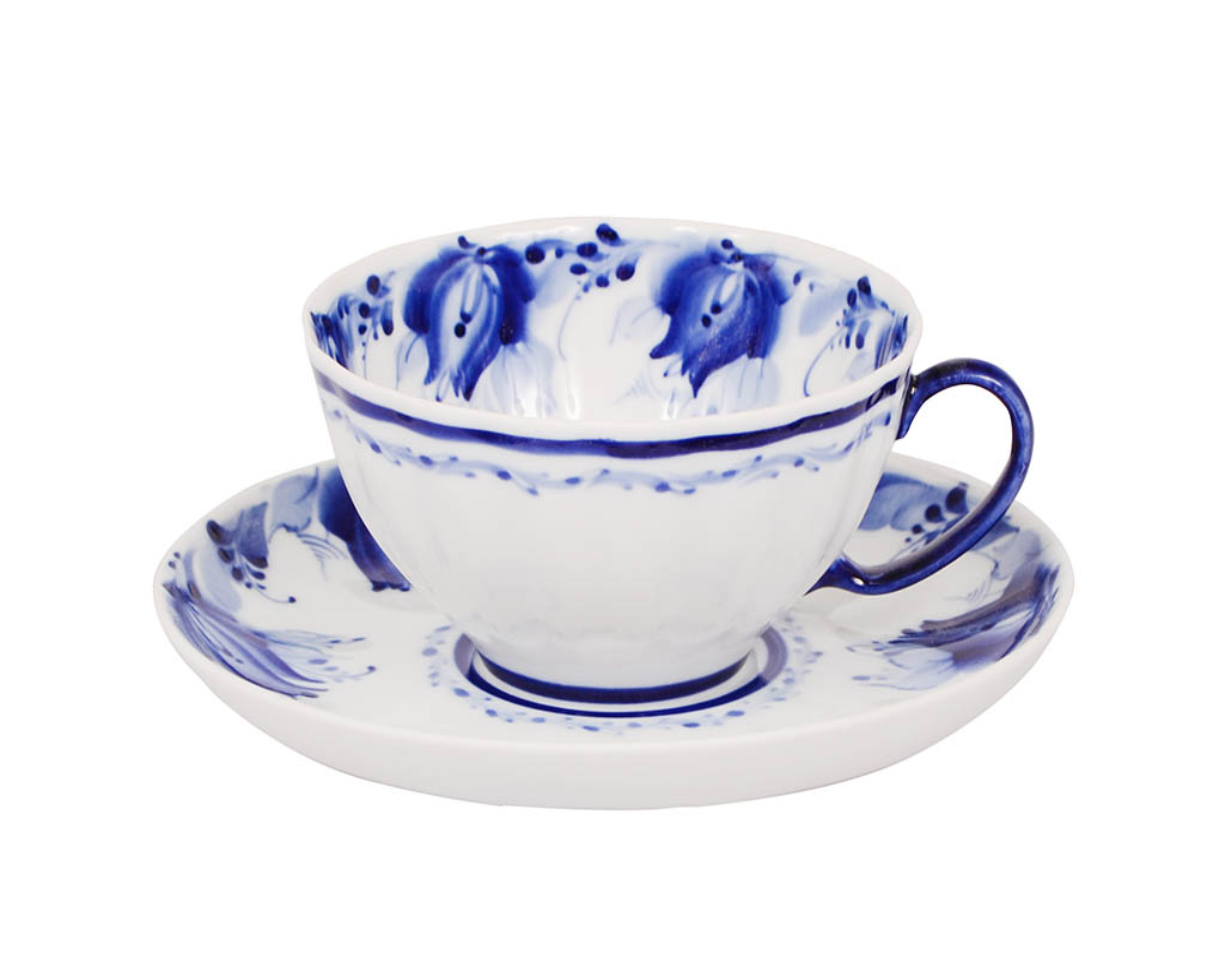 Фото Чашка чайная с блюдцем Гжель 230 мл Белый лебедь Голубые тюльпаны