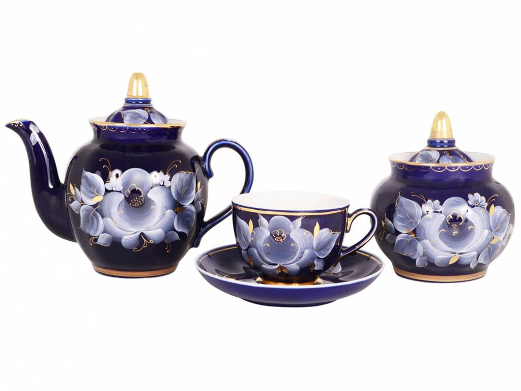 Фото Сервиз чайный Гжель, форма Гранатовый, Глухой кобальт, 14 предметов на 6 персон