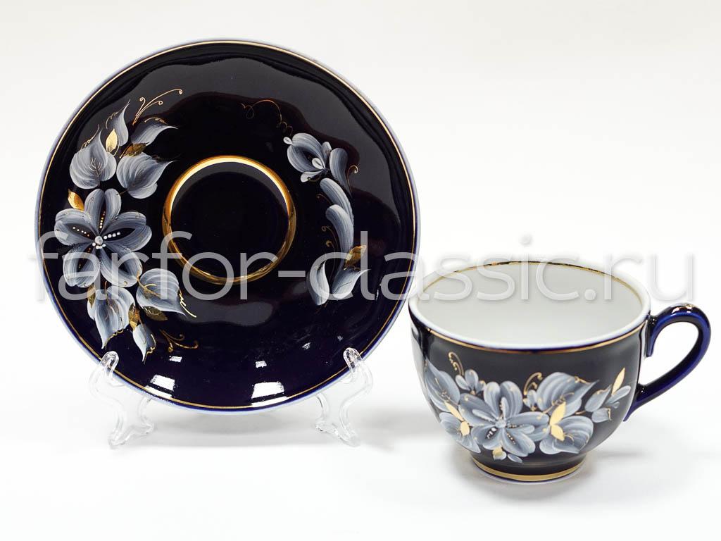 Фото Чашка чайная с блюдцем Гжель 250 мл Гранатовый Ромашки Глухой кобальт