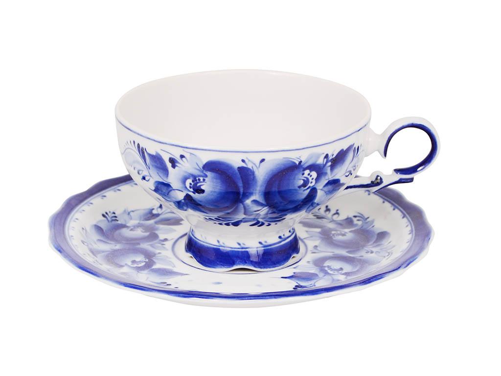Фото Чашка чайная с блюдцем Гжель 230 мл Агат