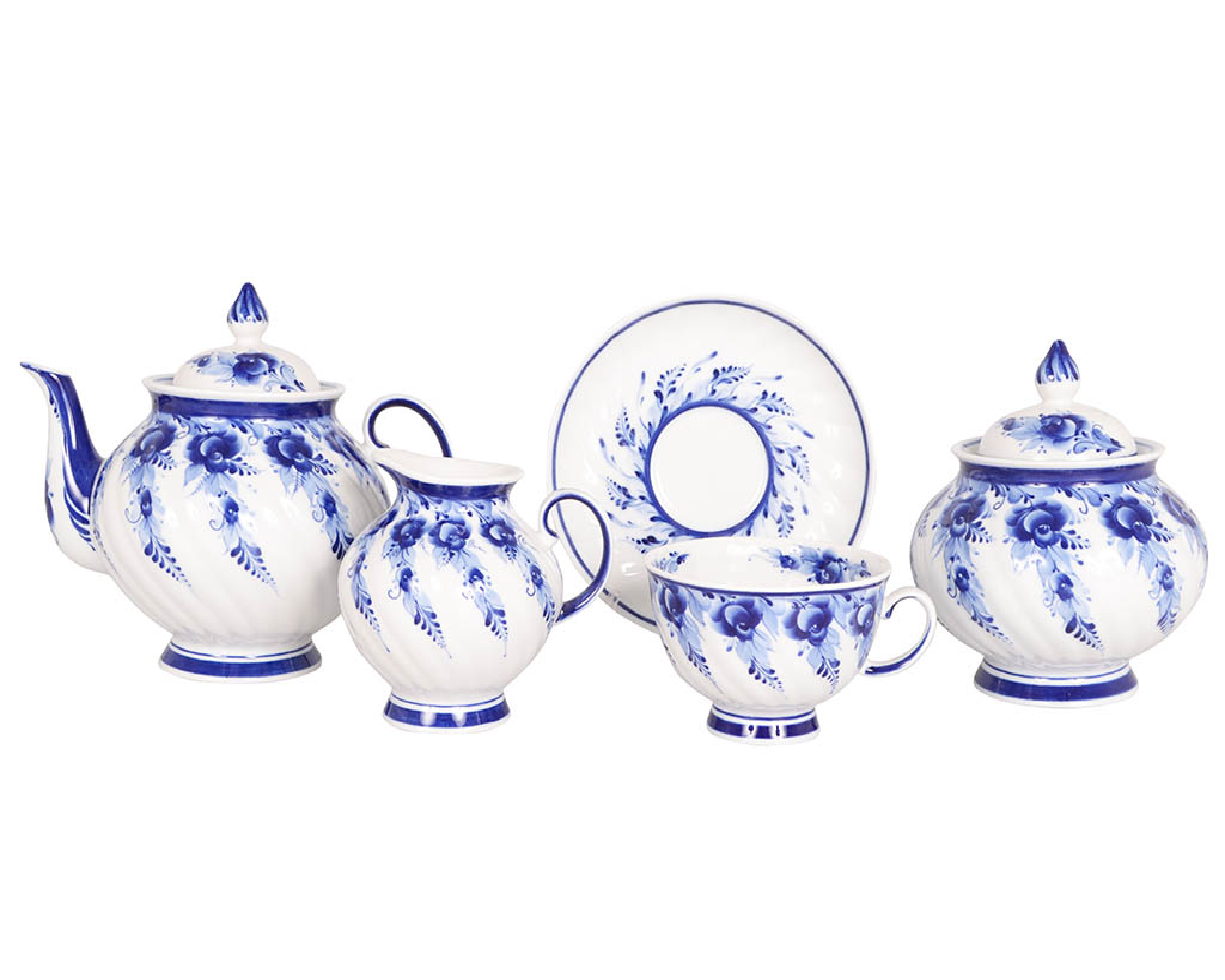 Фото Сервиз чайный Голубая роза Гжель, 15 предметов на 6 персон