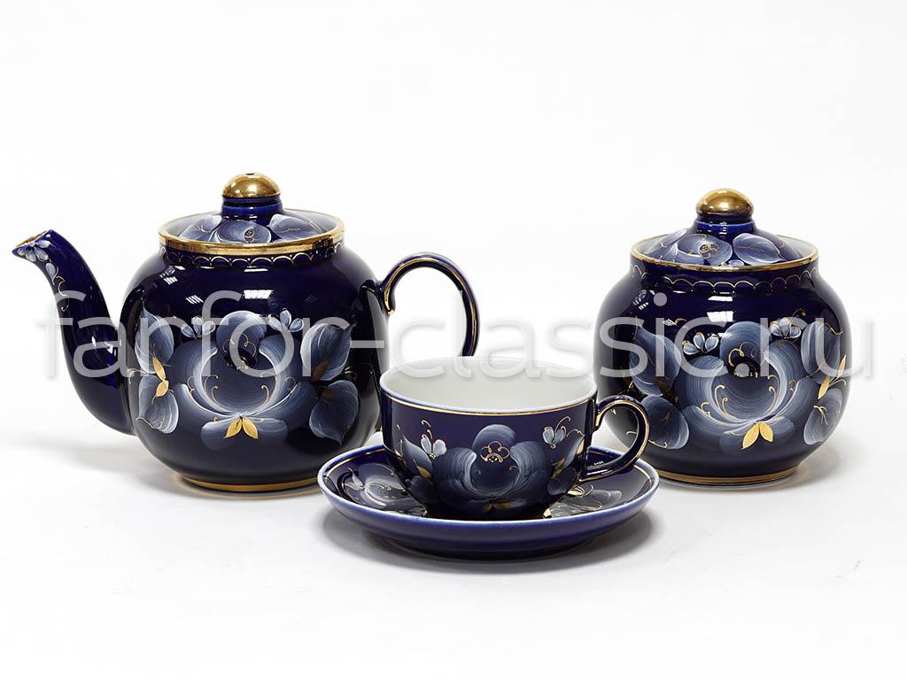 Фото Сервиз чайный Гжель, форма Янтарь, Глухой кобальт, 14 предметов на 6 персон