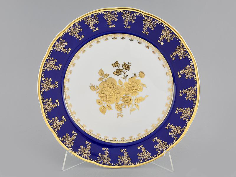 Фото Блюдо круглое мелкое 30 см Форма Мэри-Энн Золотая роза кобальт