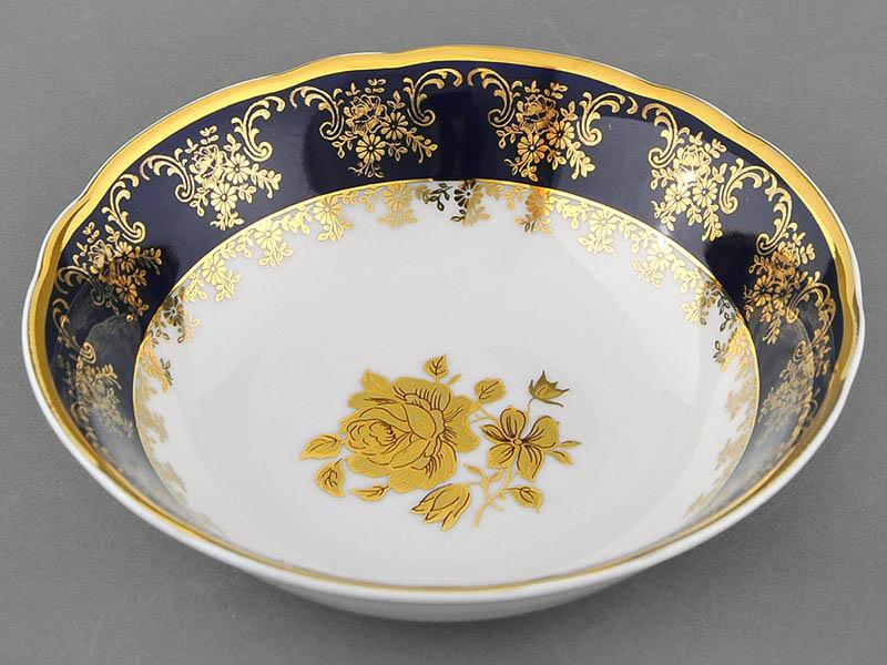 Фото Салатник 16 см Форма Мэри-Энн Золотая роза кобальт