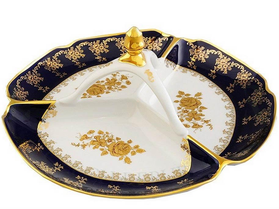 Фото Менажница 29,5 см Форма Мэри-Энн Золотая роза кобальт