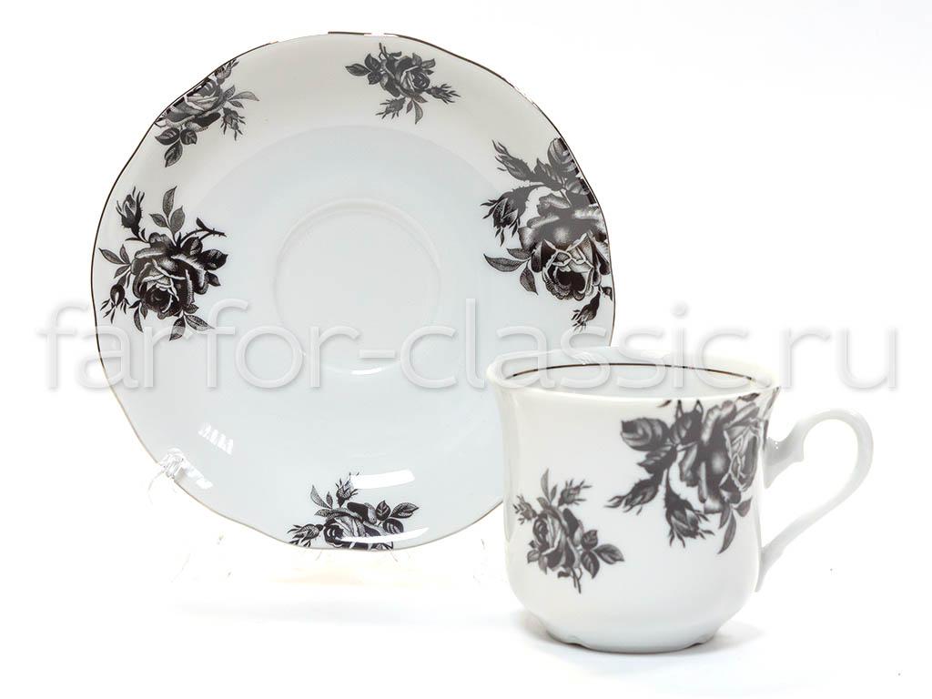 Фото Чайная пара 200 мл, Форма Мэри-Энн Черная роза