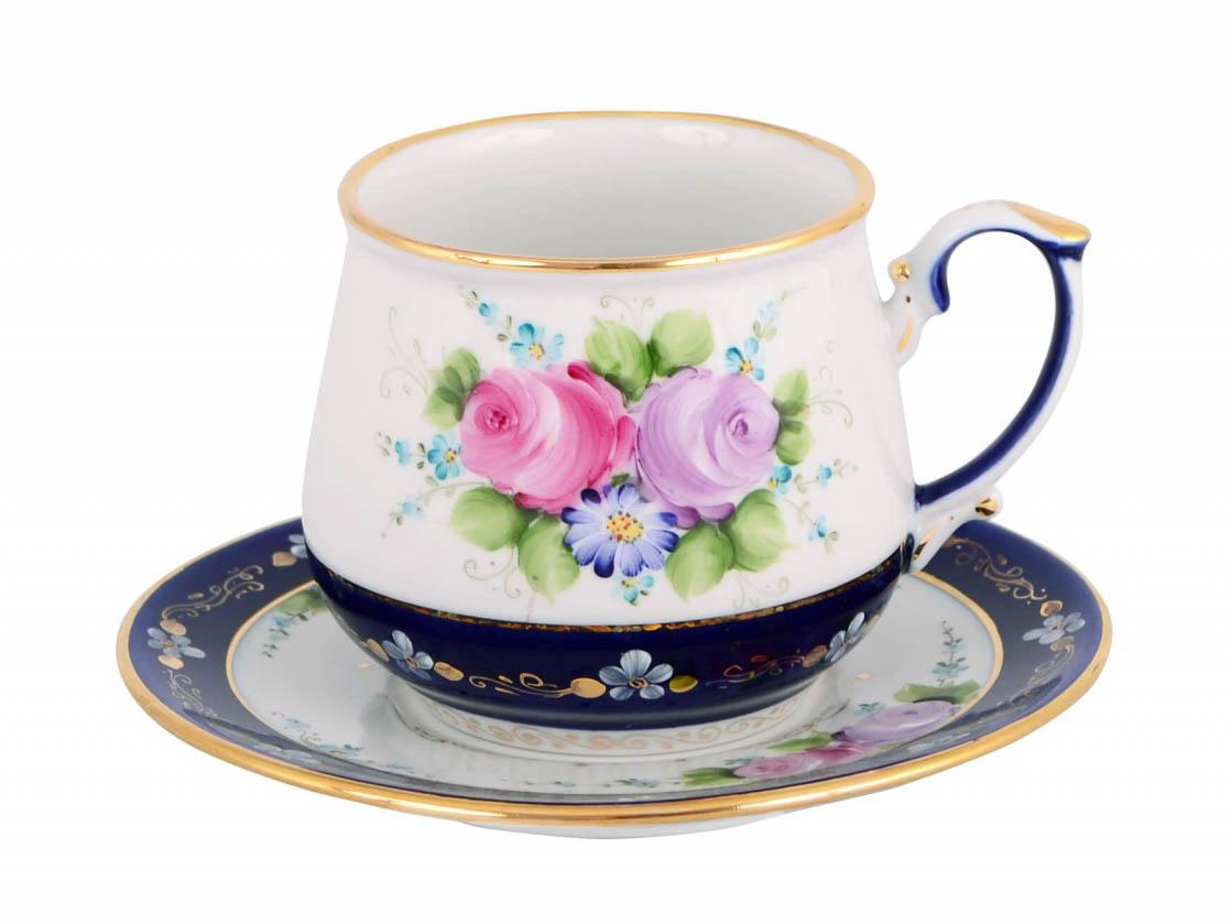 Фото Чашка чайная с блюдцем Гжель 300 мл Цветущий сад Художественная роспись