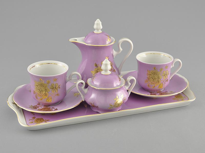 Фото Набор кофейный Тет-а-тет Розовый Форма Мэри-Энн Золотая роза