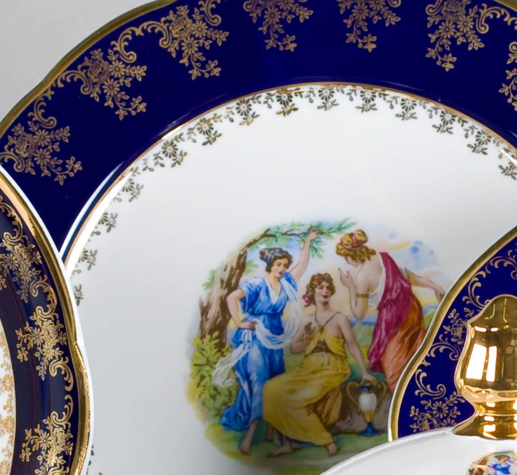 Фото Набор мелких тарелок 25 см 6 шт, Форма Мэри-Энн Мадонна кобальт