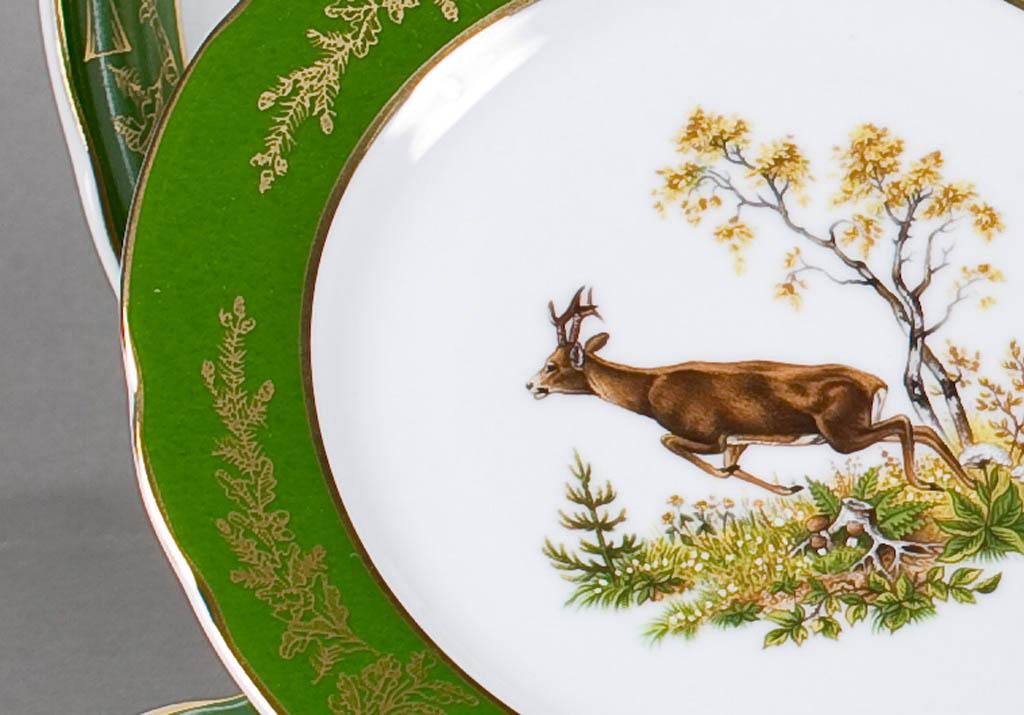 Фото Набор мелких тарелок 25 см 6 шт, Форма Мэри-Энн Охотничий изумрудный