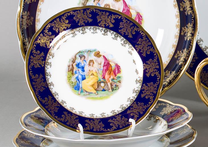 Фото Набор тарелок 18 шт на 6 персон, Форма Мэри-Энн Мадонна кобальт