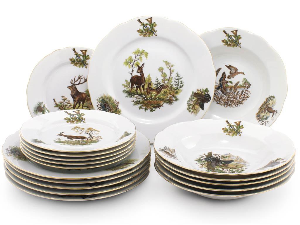 Фото Набор тарелок 18 шт на 6 персон, Форма Мэри-Энн Охотничий