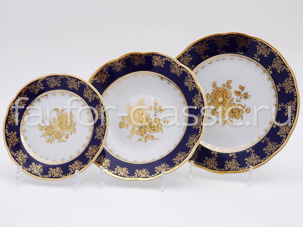Фото Набор тарелок 18 шт на 6 персон, Форма Мэри-Энн Золотая роза кобальт