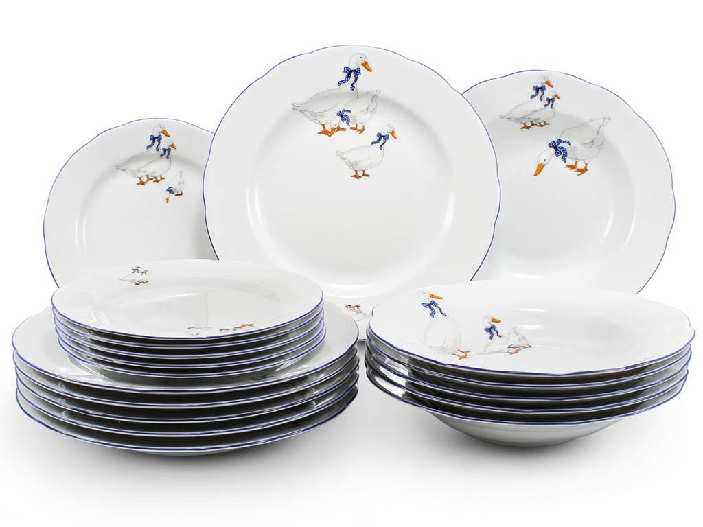 Фото Набор тарелок 18 предметов с десертной тарелкой 19 см, Форма Мэри-Энн Чешские гуси