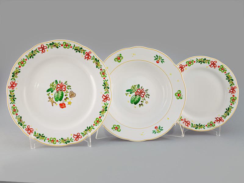 Фото Набор тарелок 18 шт на 6 персон, Форма Мэри-Энн Новогодний