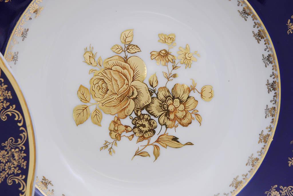 Фото Набор глубоких тарелок 23 см 6 шт, Форма Мэри-Энн Золотая роза кобальт