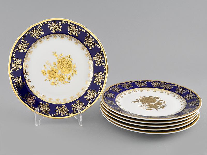 Фото Набор мелких тарелок 19 см 6 шт, Форма Мэри-Энн Золотая роза кобальт