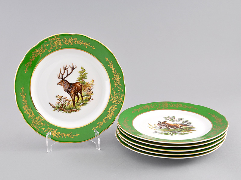 Фото Набор мелких тарелок 19 см 6 шт, Форма Мэри-Энн Охотничий изумрудный