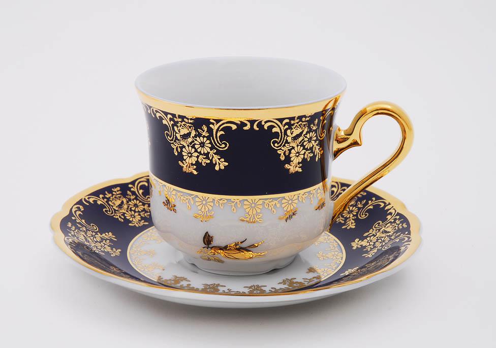 Фото Набор чашек кофейных с блюдцем 150 мл, 6 шт Форма Мэри-Энн Золотая роза кобальт