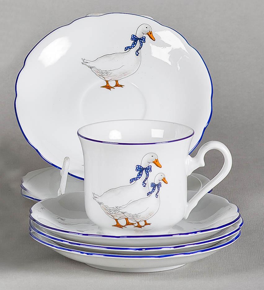 Фото Набор чашек кофейных с блюдцем 150 мл, 6 шт Форма Мэри-Энн Чешские гуси