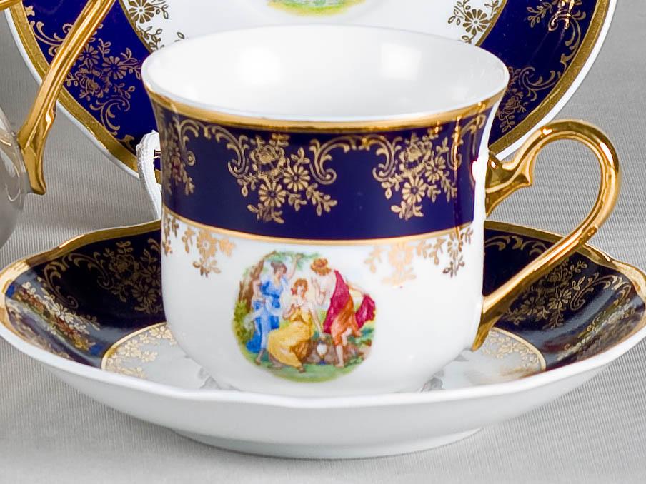 Фото Набор чашек высоких с блюдцем 200 мл, 6 шт Форма Мэри-Энн Мадонна кобальт