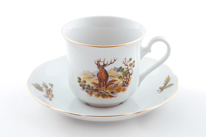 Фото Набор чашек высоких с блюдцем 200 мл, 6 шт Форма Мэри-Энн Охотничий