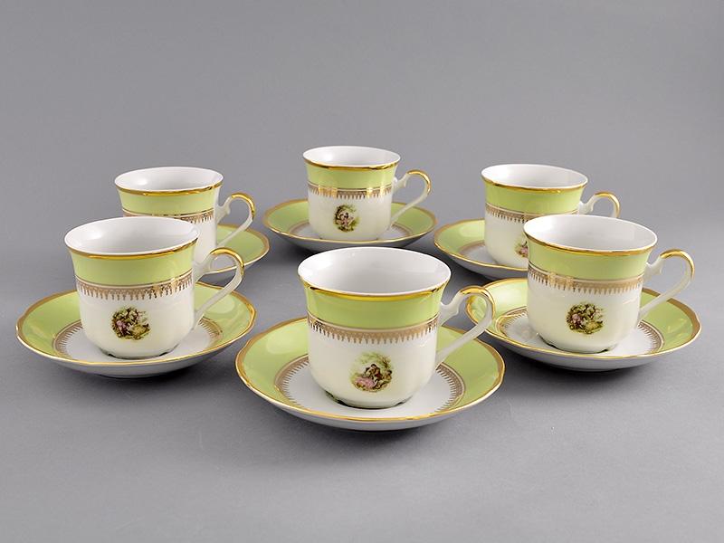 Фото Набор чашек высоких с блюдцем 200 мл, 6 шт Форма Мэри-Энн Свидание салатовый