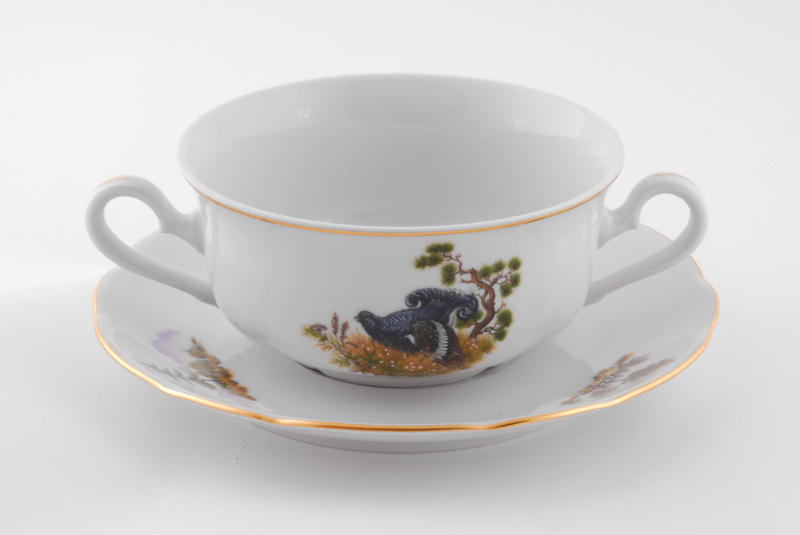 Фото Набор чашек для супа с блюдцем, 2 ручки, 350 мл, 6 шт Форма Мэри-Энн Охотничий