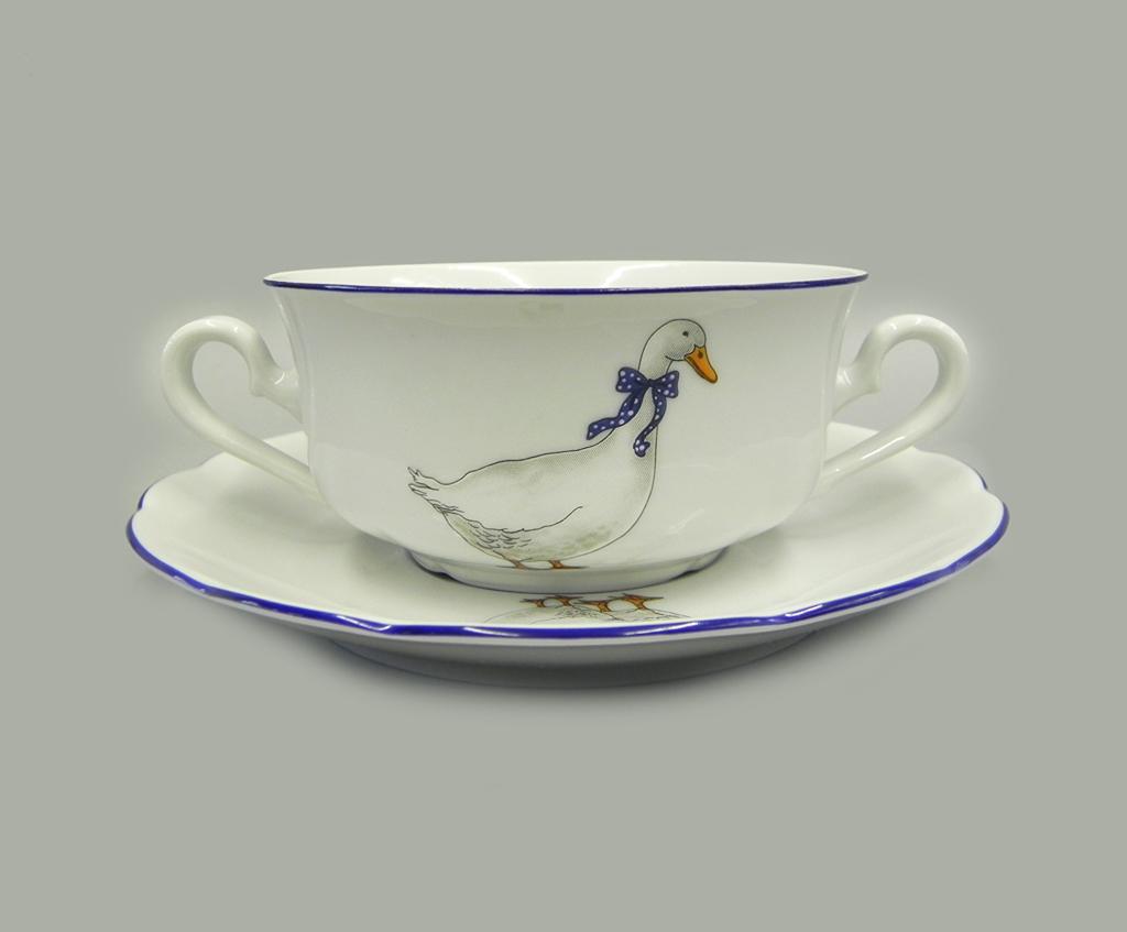 Фото Набор чашек для супа с блюдцем, 2 ручки, 350 мл, 6 шт Форма Мэри-Энн Чешские гуси