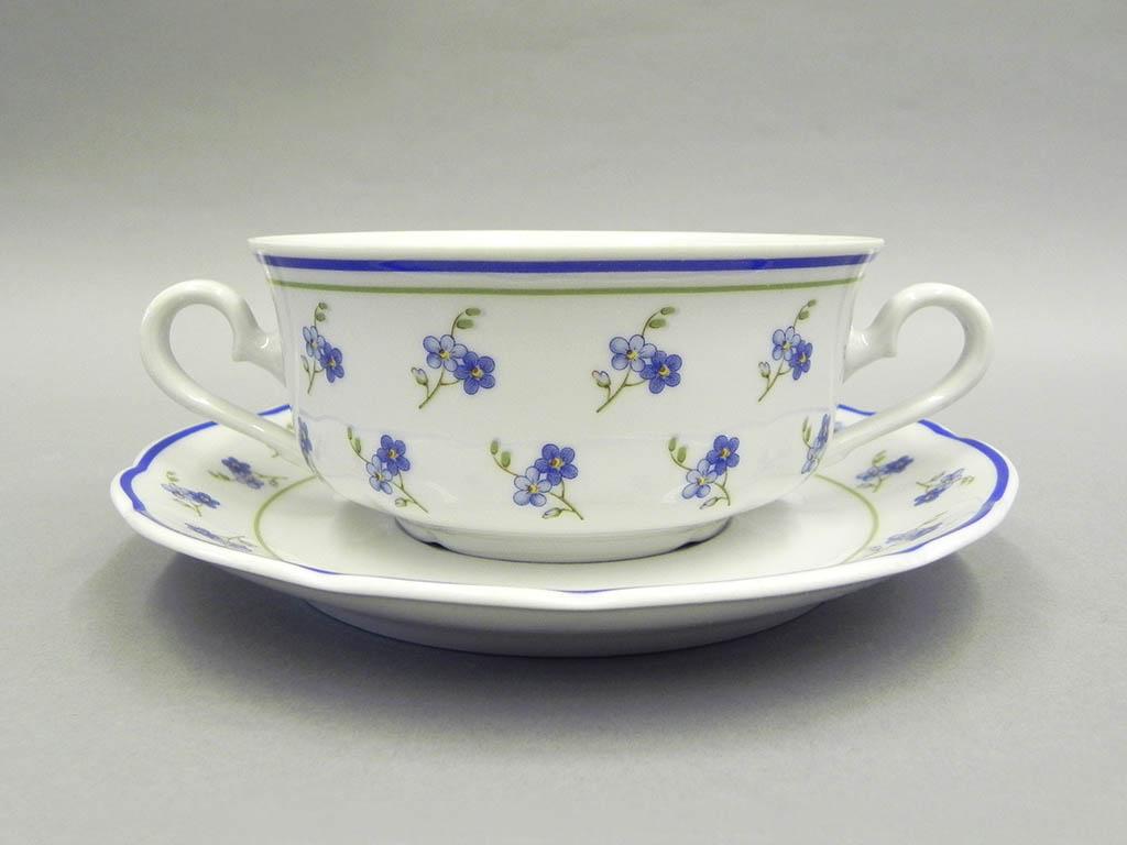 Фото Набор чашек для супа с блюдцем, 2 ручки, 350 мл, 6 шт Форма Мэри-Энн Незабудки