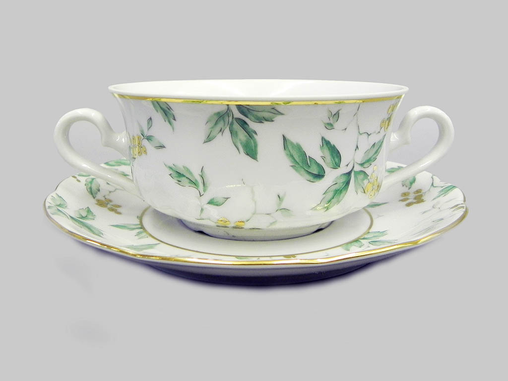 Фото Набор чашек для супа с блюдцем, 2 ручки, 350 мл, 6 шт Форма Мэри-Энн Дикий виноград
