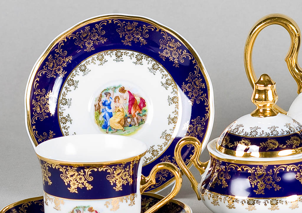 Фото Сервиз кофейный 15 предметов на 6 персон, Форма Мэри-Энн Мадонна кобальт