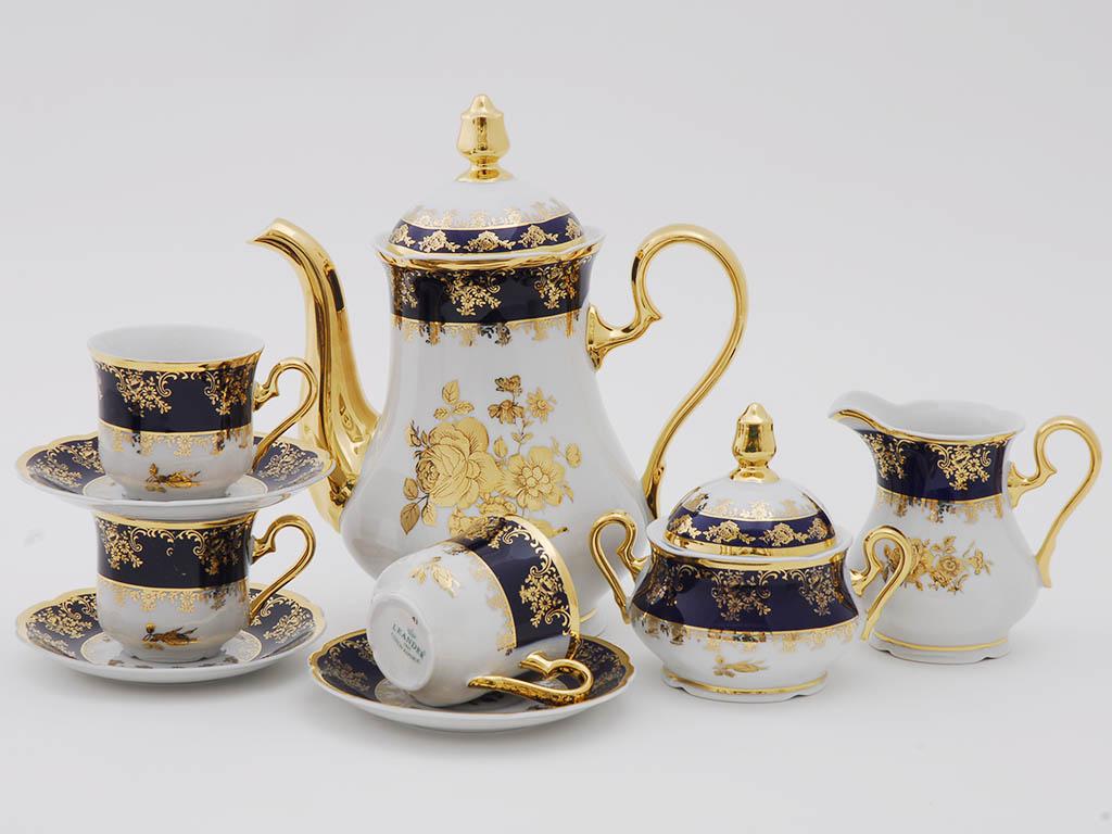 Фото Сервиз кофейный 15 предметов на 6 персон, Форма Мэри-Энн Золотая роза кобальт
