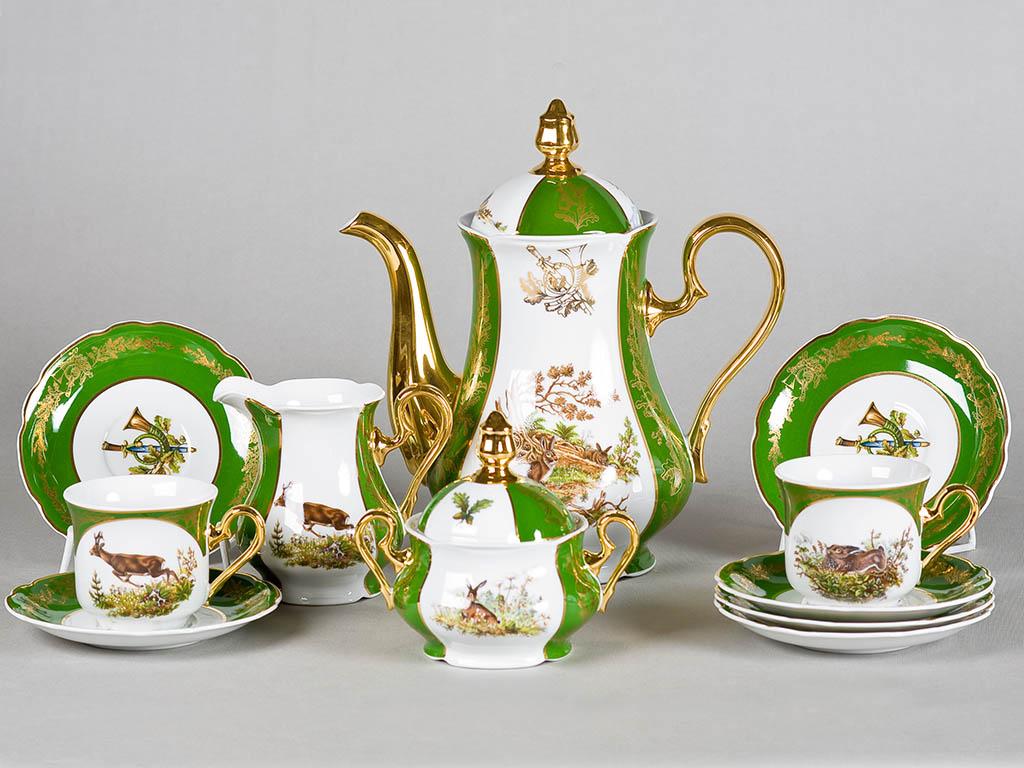 Фото Сервиз кофейный 15 предметов на 6 персон, Форма Мэри-Энн Охотничий изумрудный