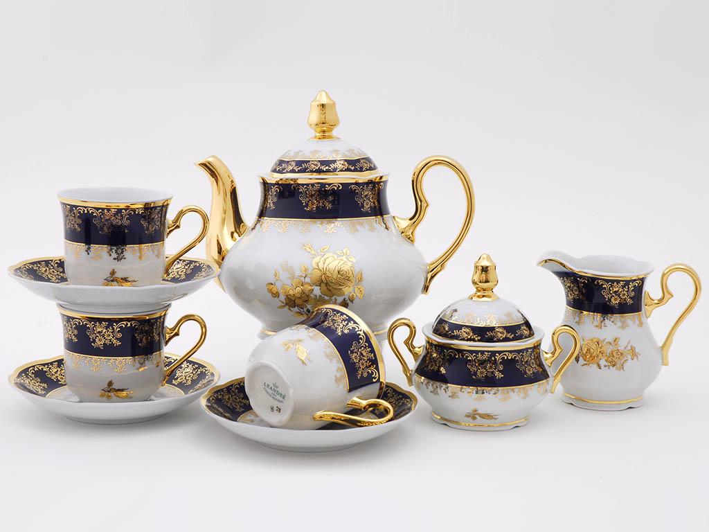 Фото Сервиз чайный 15 предметов на 6 персон, Форма Мэри-Энн Золотая роза кобальт