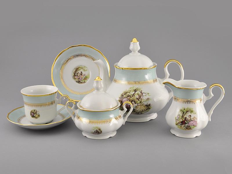 Фото Сервиз чайный 15 предметов на 6 персон, Форма Мэри-Энн Свидание голубой