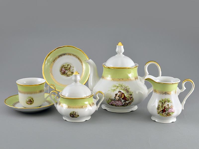 Фото Сервиз чайный 15 предметов на 6 персон, Форма Мэри-Энн Свидание салатовый