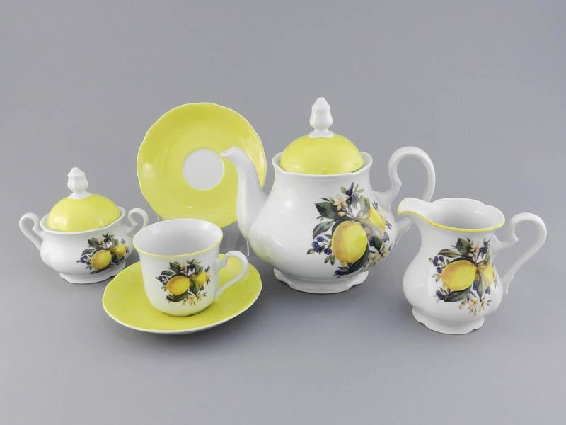 Фото Сервиз чайный 15 предметов на 6 персон, Форма Мэри-Энн Лимонный