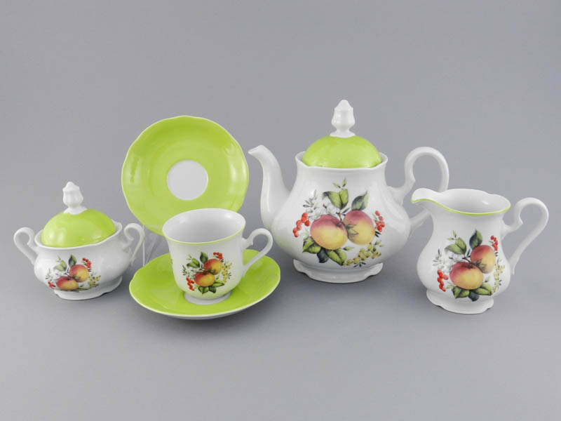 Фото Сервиз чайный 15 предметов на 6 персон, Форма Мэри-Энн Яблоки