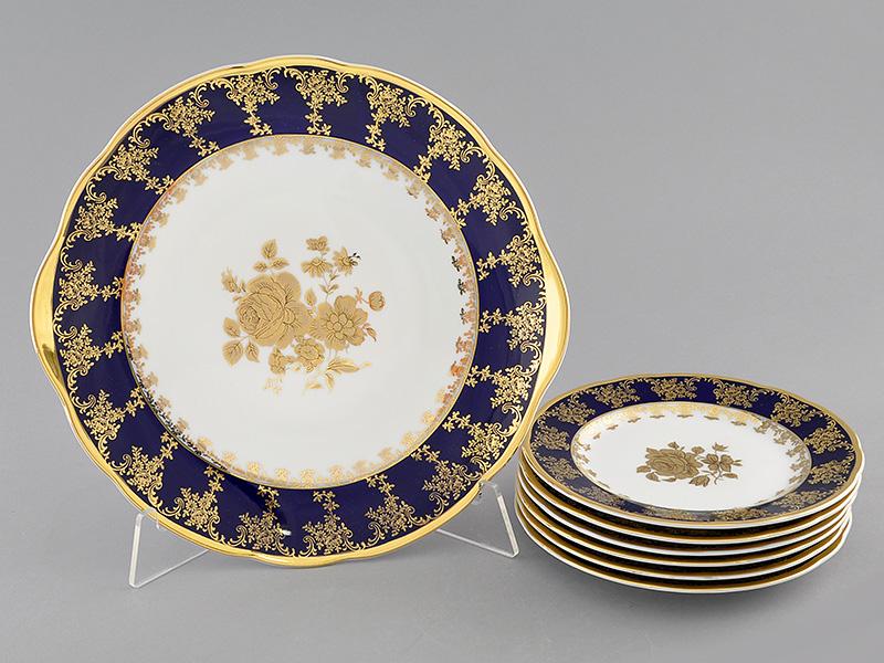 Фото Набор для торта 7 предметов на 6 персон, тарелки 17 см,  Форма Мэри-Энн Золотая роза кобальт