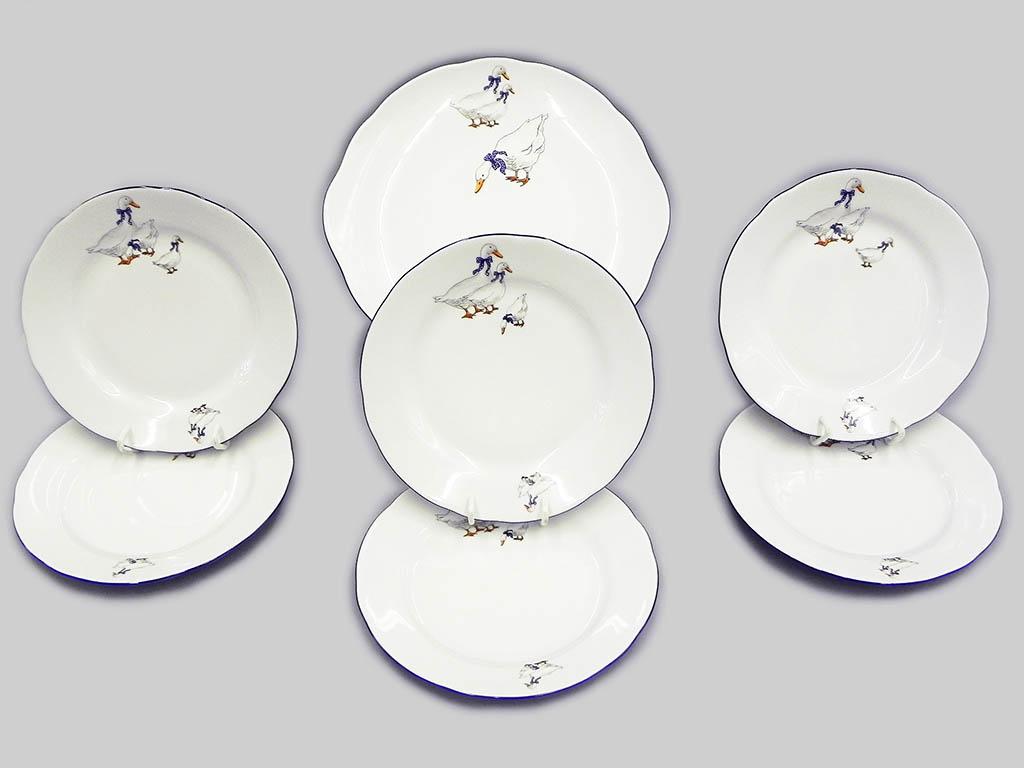 Фото Набор для торта 7 предметов на 6 персон, тарелки 17 см,  Форма Мэри-Энн Чешские гуси