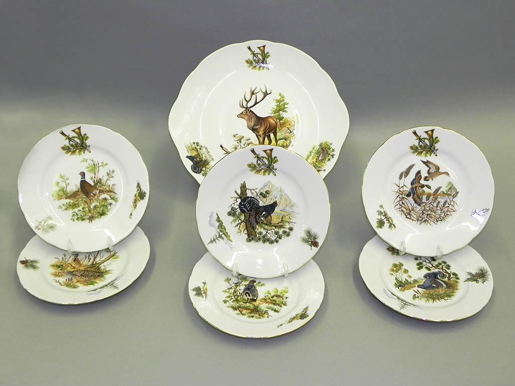 Фото Набор для торта 7 предметов на 6 персон, тарелки 19 см, Форма Мэри-Энн Охотничий